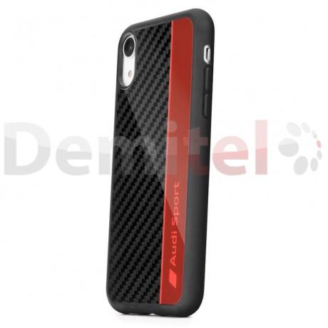 Силиконов гръб AUDI R8 D1 с карбон за iPhone XR Червен