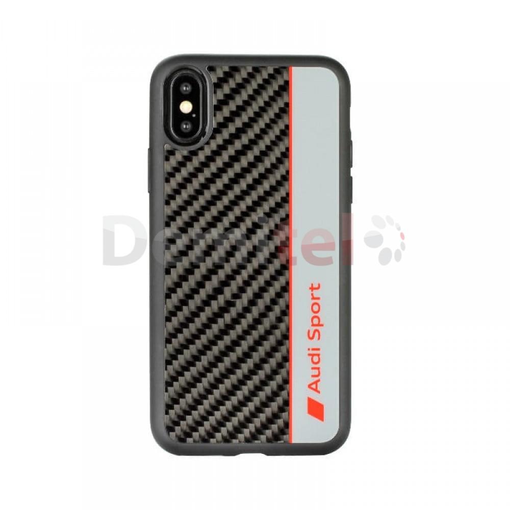 Силиконов гръб AUDI R8 D1 с карбон за iPhone XS Max Сив
