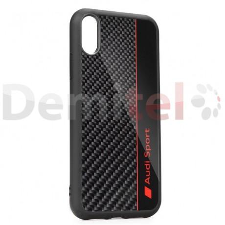 Силиконов гръб AUDI R8 D1 с карбон за iPhone XS Max Черен