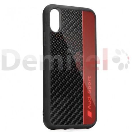 Силиконов гръб AUDI R8 D1 с карбон за iPhone XS Max Червен