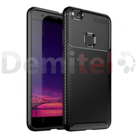 Силиконов гръб AUTO FOCUS Carbon за Huawei P10 Lite Черен