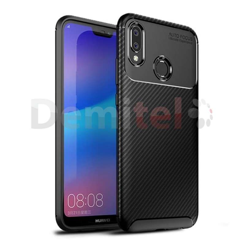 Силиконов гръб AUTO FOCUS Carbon за Huawei P20 Lite Черен