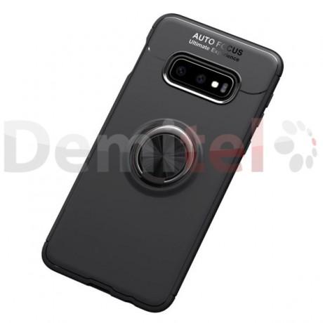 Силиконов гръб AUTO FOCUS Magnetic Ring за Samsung Galaxy S10E Черен