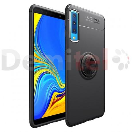 Силиконов гръб AUTO FOCUS Magnetic Ring за Samsung Galaxy A7 2018 Черен