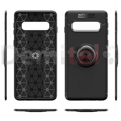 Силиконов гръб AUTO FOCUS Magnetic Ring за Samsung Galaxy S10 Plus Черен