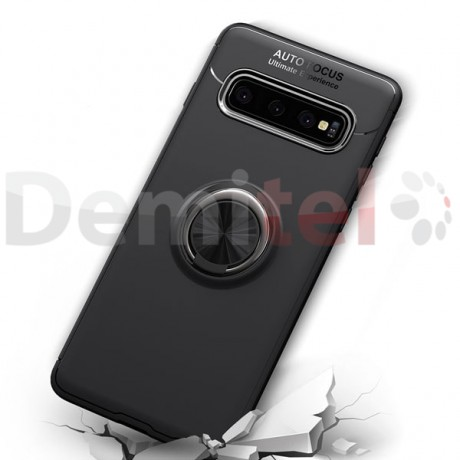 Силиконов гръб AUTO FOCUS Magnetic Ring за Samsung Galaxy S10 Черен