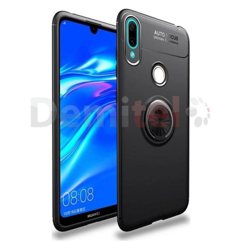 Силиконов гръб AUTO FOCUS Magnetic Ring за Huawei Y7 2019 Черен