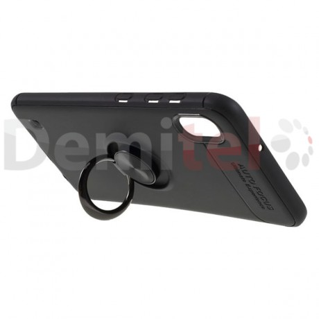 Силиконов гръб AUTO FOCUS Magnetic Ring за Samsung Galaxy A10 Черен